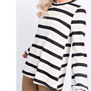12PM by Mon Ami Striped Knit Crew Neck Sweater S